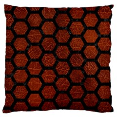 Hexagon2 Black Marble & Reddish Brown Leather Large Flano Cushion Case (two Sides) by trendistuff