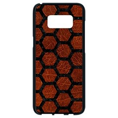Hexagon2 Black Marble & Reddish Brown Leather Samsung Galaxy S8 Black Seamless Case by trendistuff
