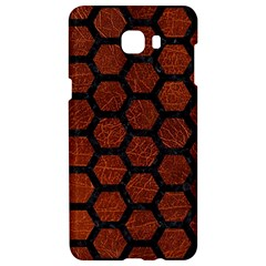 Hexagon2 Black Marble & Reddish Brown Leather Samsung C9 Pro Hardshell Case  by trendistuff