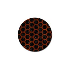 Hexagon2 Black Marble & Reddish Brown Leather (r) Golf Ball Marker by trendistuff
