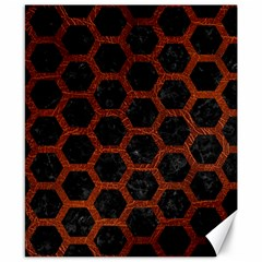 Hexagon2 Black Marble & Reddish Brown Leather (r) Canvas 8  X 10  by trendistuff