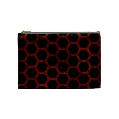 Hexagon2 Black Marble & Reddish Brown Leather (r) Cosmetic Bag (medium)  by trendistuff