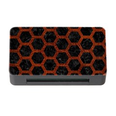 Hexagon2 Black Marble & Reddish Brown Leather (r) Memory Card Reader With Cf by trendistuff