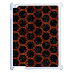 Hexagon2 Black Marble & Reddish Brown Leather (r) Apple Ipad 2 Case (white) by trendistuff