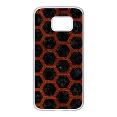 Hexagon2 Black Marble & Reddish Brown Leather (r) Samsung Galaxy S7 Edge White Seamless Case by trendistuff