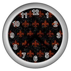 Royal1 Black Marble & Reddish Brown Leather Wall Clocks (silver)  by trendistuff