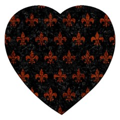 Royal1 Black Marble & Reddish Brown Leather Jigsaw Puzzle (heart) by trendistuff
