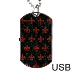 Royal1 Black Marble & Reddish Brown Leather Dog Tag Usb Flash (two Sides) by trendistuff