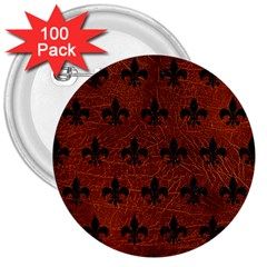 Royal1 Black Marble & Reddish Brown Leather (r) 3  Buttons (100 Pack)  by trendistuff