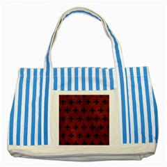 Royal1 Black Marble & Reddish Brown Leather (r) Striped Blue Tote Bag