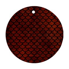 Scales1 Black Marble & Reddish Brown Leather Round Ornament (two Sides)