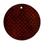 SCALES1 BLACK MARBLE & REDDISH-BROWN LEATHER Round Ornament (Two Sides) Front