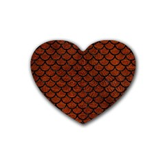 Scales1 Black Marble & Reddish Brown Leather Rubber Coaster (heart)  by trendistuff