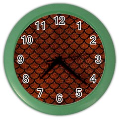 Scales1 Black Marble & Reddish Brown Leather Color Wall Clocks by trendistuff