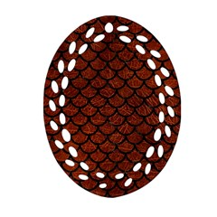 Scales1 Black Marble & Reddish Brown Leather Ornament (oval Filigree) by trendistuff