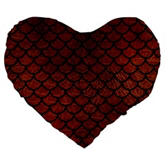 Scales1 Black Marble & Reddish Brown Leather Large 19  Premium Heart Shape Cushions by trendistuff