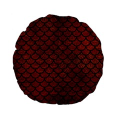 Scales1 Black Marble & Reddish Brown Leather Standard 15  Premium Flano Round Cushions by trendistuff