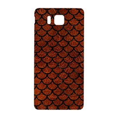 Scales1 Black Marble & Reddish Brown Leather Samsung Galaxy Alpha Hardshell Back Case by trendistuff