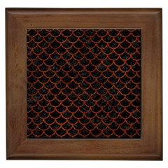 Scales1 Black Marble & Reddish Brown Leather (r) Framed Tiles by trendistuff