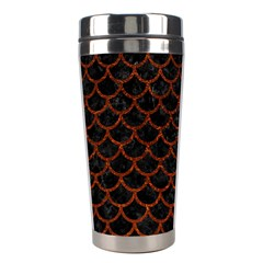 Scales1 Black Marble & Reddish Brown Leather (r) Stainless Steel Travel Tumblers by trendistuff