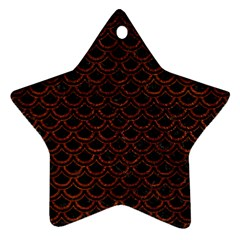 Scales2 Black Marble & Reddish Brown Leather (r) Ornament (star) by trendistuff