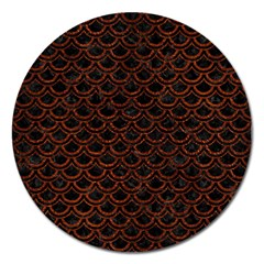 Scales2 Black Marble & Reddish Brown Leather (r) Magnet 5  (round) by trendistuff