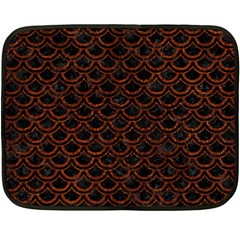Scales2 Black Marble & Reddish Brown Leather (r) Double Sided Fleece Blanket (mini)