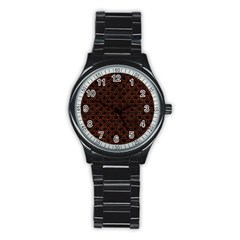 Scales2 Black Marble & Reddish Brown Leather (r) Stainless Steel Round Watch by trendistuff