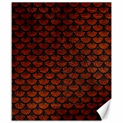 Scales3 Black Marble & Reddish Brown Leather Canvas 8  X 10  by trendistuff