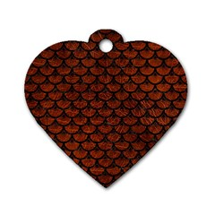 Scales3 Black Marble & Reddish Brown Leather Dog Tag Heart (one Side) by trendistuff
