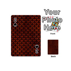 Scales3 Black Marble & Reddish Brown Leather Playing Cards 54 (mini)  by trendistuff