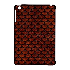 Scales3 Black Marble & Reddish Brown Leather Apple Ipad Mini Hardshell Case (compatible With Smart Cover) by trendistuff
