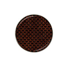 Scales3 Black Marble & Reddish Brown Leather (r) Hat Clip Ball Marker (4 Pack) by trendistuff