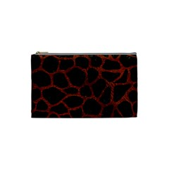 Skin1 Black Marble & Reddish Brown Leather Cosmetic Bag (small)  by trendistuff