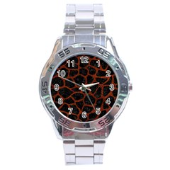Skin1 Black Marble & Reddish Brown Leather Stainless Steel Analogue Watch by trendistuff