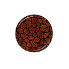 Skin1 Black Marble & Reddish Brown Leather (r) Hat Clip Ball Marker (4 Pack) by trendistuff