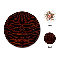 Skin2 Black Marble & Reddish Brown Leather (r) Playing Cards (round)  by trendistuff