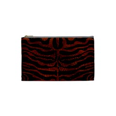 Skin2 Black Marble & Reddish Brown Leather (r) Cosmetic Bag (small)  by trendistuff