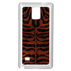 Skin2 Black Marble & Reddish Brown Leather (r) Samsung Galaxy Note 4 Case (white) by trendistuff