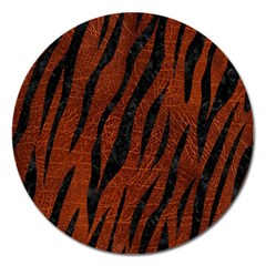 Skin3 Black Marble & Reddish Brown Leather Magnet 5  (round) by trendistuff