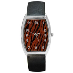 Skin3 Black Marble & Reddish Brown Leather Barrel Style Metal Watch by trendistuff