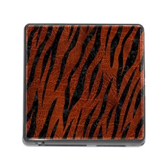 Skin3 Black Marble & Reddish Brown Leather Memory Card Reader (square) by trendistuff