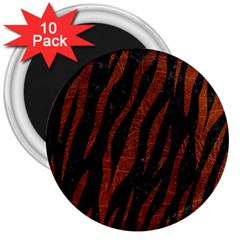 Skin3 Black Marble & Reddish Brown Leather (r) 3  Magnets (10 Pack)  by trendistuff