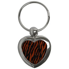 Skin3 Black Marble & Reddish Brown Leather (r) Key Chains (heart)  by trendistuff