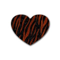 Skin3 Black Marble & Reddish Brown Leather (r) Heart Coaster (4 Pack)  by trendistuff