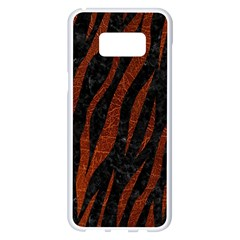 Skin3 Black Marble & Reddish Brown Leather (r) Samsung Galaxy S8 Plus White Seamless Case by trendistuff