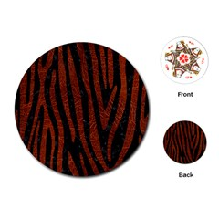 Skin4 Black Marble & Reddish Brown Leather Playing Cards (round)  by trendistuff
