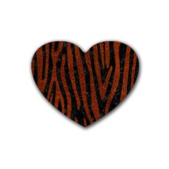 Skin4 Black Marble & Reddish Brown Leather Rubber Coaster (heart)  by trendistuff