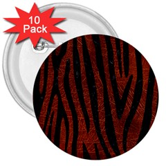 Skin4 Black Marble & Reddish Brown Leather (r) 3  Buttons (10 Pack)  by trendistuff