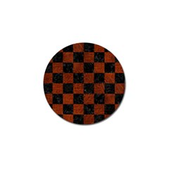 Square1 Black Marble & Reddish Brown Leather Golf Ball Marker by trendistuff